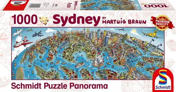Schmidt 59595 - Premium Quality - Hartwig Braun - Stadtbild Sidney - Panorama Puzzle 1000 Teile