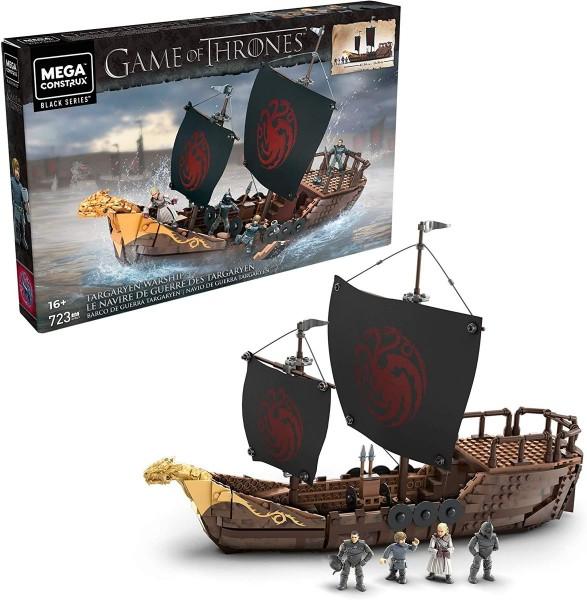 Mattel GPB29 - Mega Construx - Game of Thrones - Targaryen Kriegsschiff Bausatz inkl. 4 Figuren, Pro