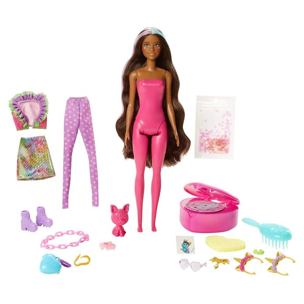 Mattel GXV95 - Barbie - Color Reveal - Puppe mit Haustier und 25 Überraschungen, Einhorn