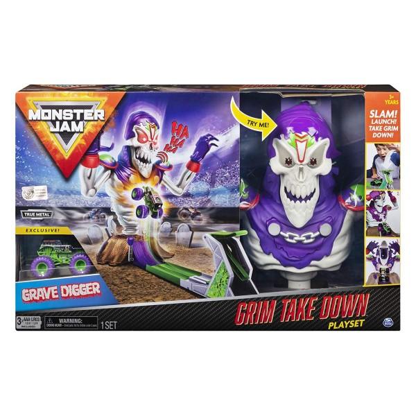 Spin Master 6046632 (20107424) - Monster Jam - Grim Take Down mit Grave Digger