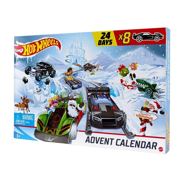 Mattel GJK02 - Hot Wheels - Adventskalender mit 8 Autos und 16 Zubehörteilen