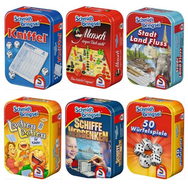 Schmidt 51055 BUNDLE sort. - Schmidt Bringsel - 6 verschiedene Mitbring-Spiele in Metallbox