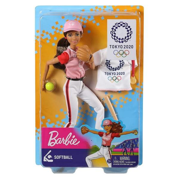 Mattel GJL77 - Barbie - Sport-Puppe, Softball, Baseball, Tokyo 2020