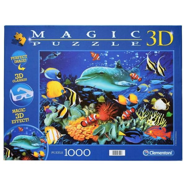 Clementoni 97120 - Magic 3D-Puzzle - Delfin Riff, 1000 Teile