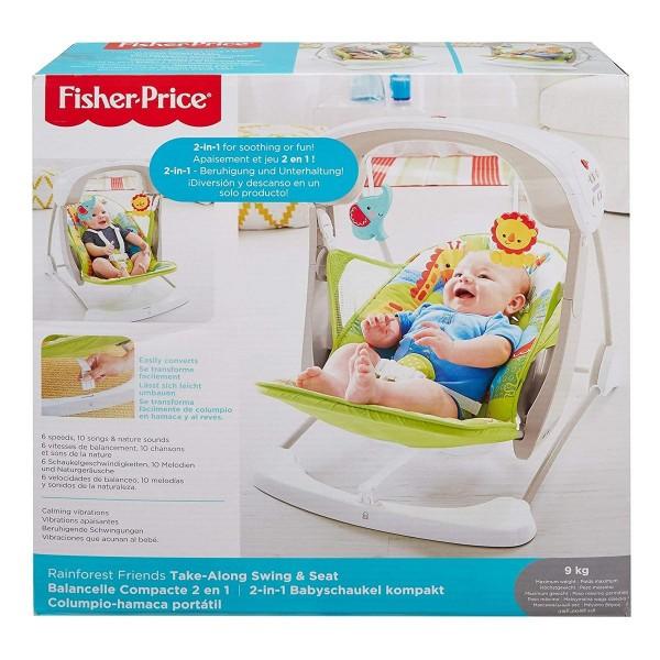Mattel CCN92 - Fisher-Price - 2 in 1 Babyschaukel mit Bewegung und Sound, Regenwald Design