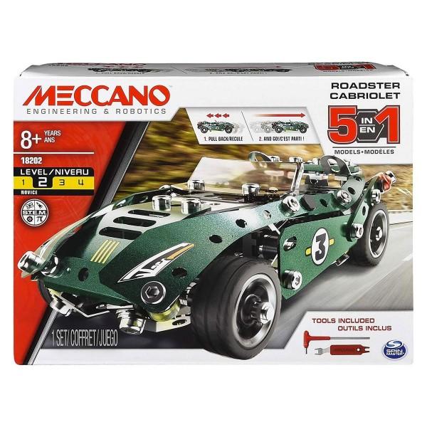 Spin Master 6040176 - Meccano - Bauset, 5 in 1 Models, Roadster Cabriolet