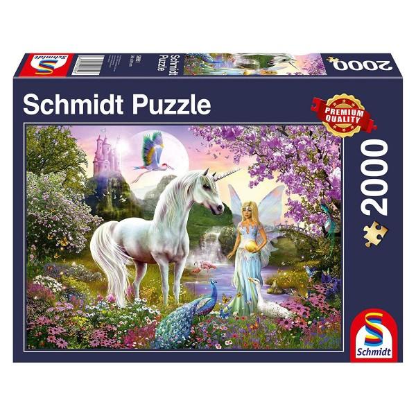Schmidt 58951 - Premium Quality - Fee und Einhorn, 2000 Teile Puzzle