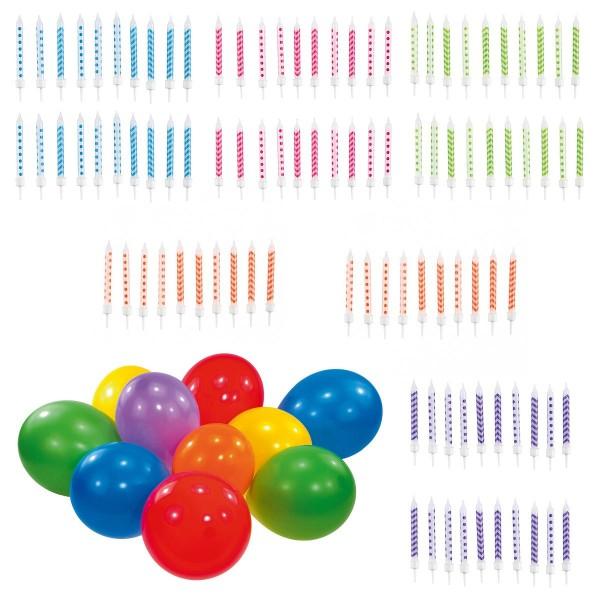 SPAR-SET 184296 - Amscan - 100 Kuchenkerzen, Tortenkerzen in 5 Farben + 50 bunte Ballons
