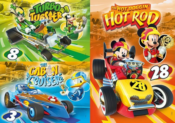 Clementoni 25227 - Disney - Mickey Mouse - Mickey and the Roadster Racers - Supercolor, Puzzle, 3 x