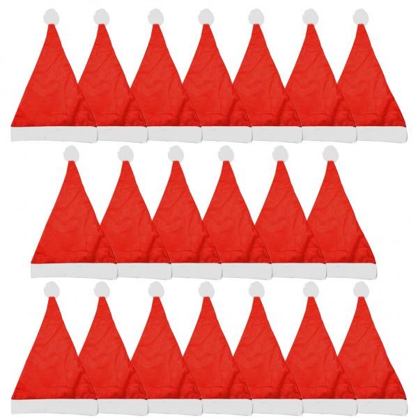 SPAR-SET 173240 - XXL-Set Weihnachtsmützen mit Bommel, 20 Stück - für Weihnachtsfeiern/Weihnachtsmar
