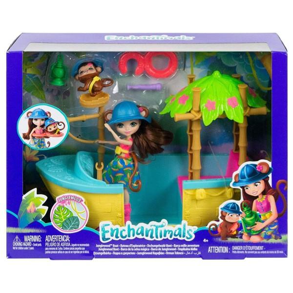 Mattel GFN58 - Enchantimals - Spielset, Dschungelwald Boot