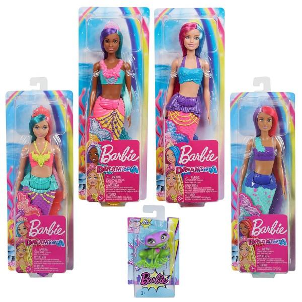 SPAR-SET 181518 - Mattel - Barbie Dreamtopia - Meerjungfrauen-Set mit 3 Puppen und Froschfigur