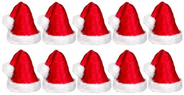 DIV 019584 - 10er Pack Luxus-Weihnachtsmütze Plüsch mit Bommel