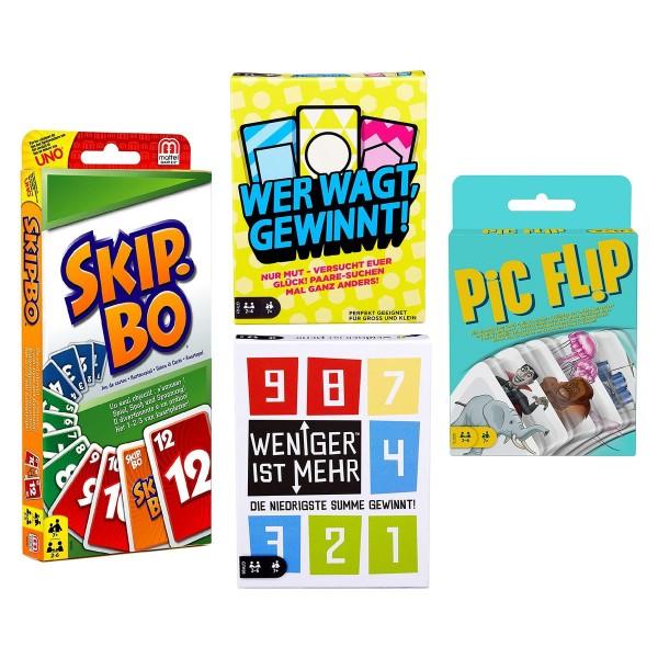 SPAR-SET 182910 - Mattel - 4er Set Kartenspiele: Skip Bo, P¡c Fl¡p, Wer wagt gewinnt, Weniger ist me