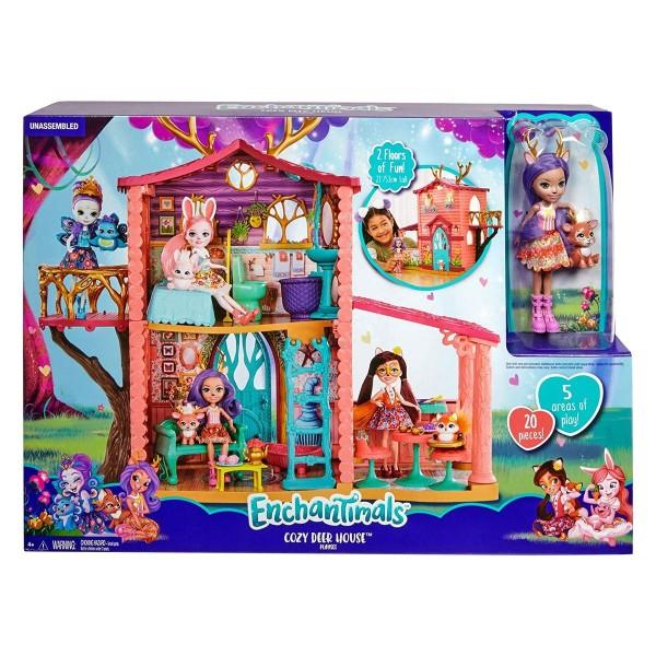 Mattel GWG90 - Enchantimals - Puppenhaus mit Puppe und Zubehör, Spielhaus-Set Reh