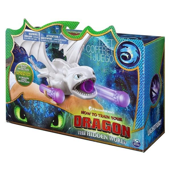 Spin Master 6045115 (20104398) - Dreamworks Dragons 3 - Handgelenkschleuder, Lightfury/Tagschatten