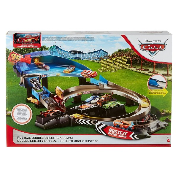 Mattel GRJ50 - Disney - Cars - Rennstrecke mit Lightning McQueen Fahrzeug, Rust-Eze