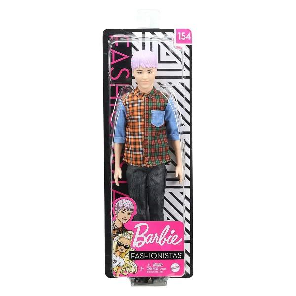 Mattel GHW70 - Barbie - Fashionistas - Puppe, Ken, lilahaarig mit Karohemd