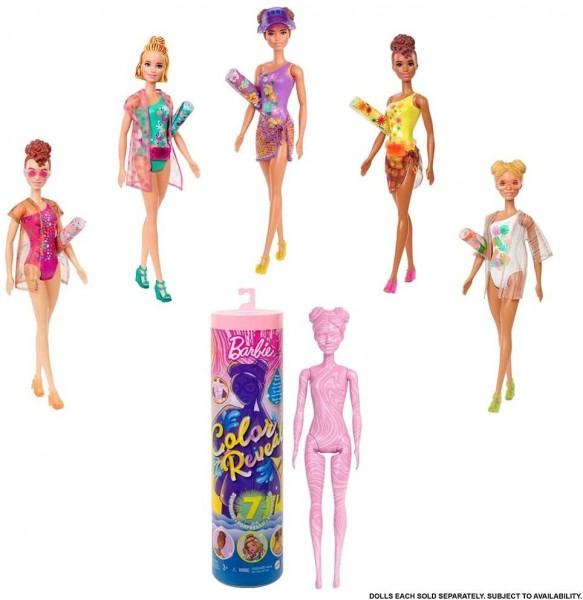 Mattel GTR95 sort. - Barbie - Color Reveal - Puppe mit 7 Überraschungen, Sand und Sonne Serie, mehrf