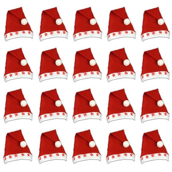 DIV 80614 BUNDLE 20 - blinkende Mützen, Weihnachtsmützen, 20 Stück Mega Pack, Leuchtsterne inkl. Bat