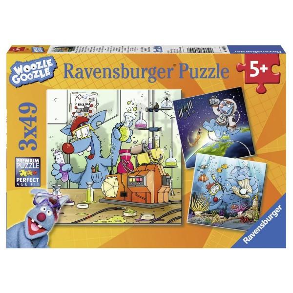 Ravensburger 08045 - Woozle Goozle - Weltall, Labor und Unterwasser - Puzzle 3 x 49 Teile