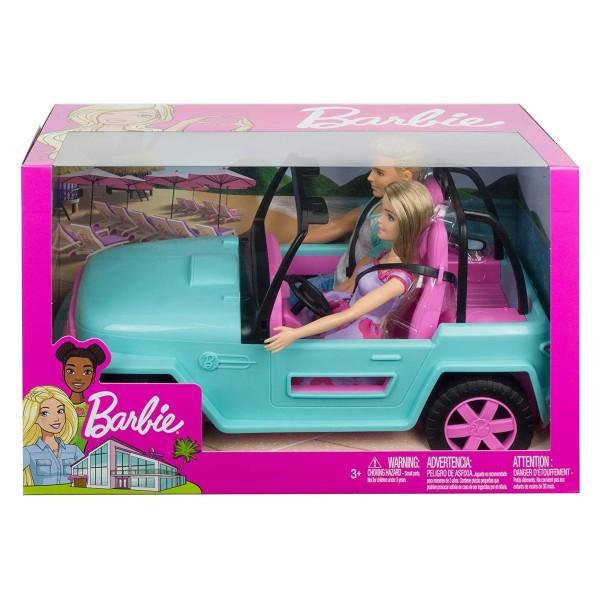 Mattel GHT35 - Barbie - Spielset, Fahrzeug Beach-Jeep mit 2 Puppen