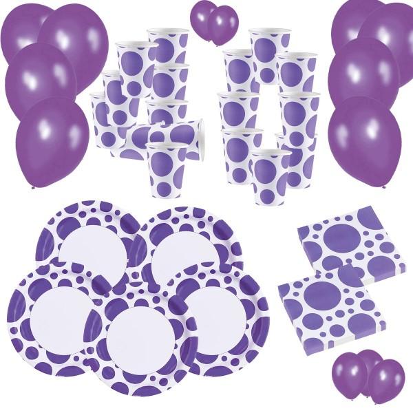 SPAR-SET 186956 - Amscan - Partyset Lila Punkte/Purple Dots - 220 Teile, Teller, Becher, Servietten,
