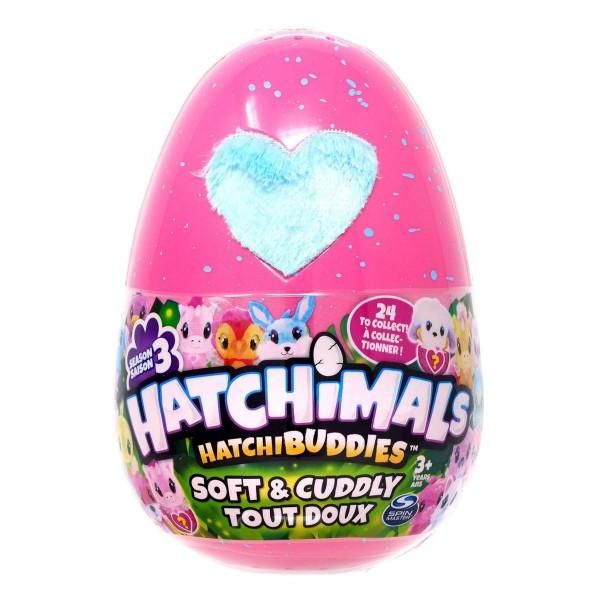 Spin Master 6045430-Pink sort. - Hatchimals - HatchiBuddies - Ei, mit Plüschfigur