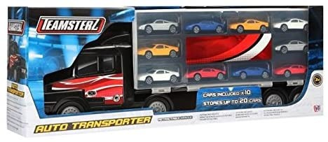 DIV 262241 - XXL Autotransporter mit 10 Spielzeugautos, 49 cm