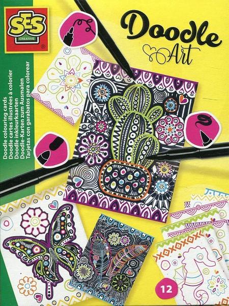 SES 14013 - Doodle-Karten zum Ausmalen