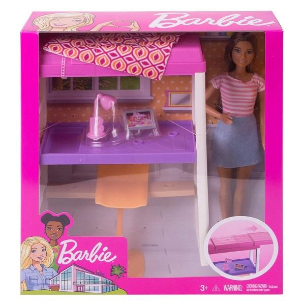 Mattel FXG52 - Barbie - Deluxe-Set - Möbel, Hochbett mit Schreibtisch und Puppe