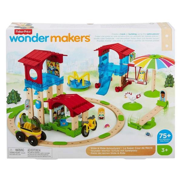 Mattel GGV82 - Fisher-Price - wonder makers - Holzspielzeug, Schule mit Spielplatz