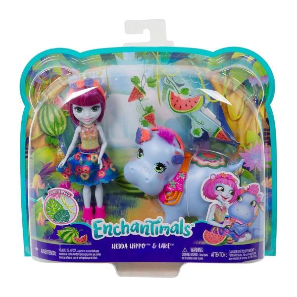 Mattel GFN56 - Enchantimals - Spielset mit Hedda Hippo und Lake