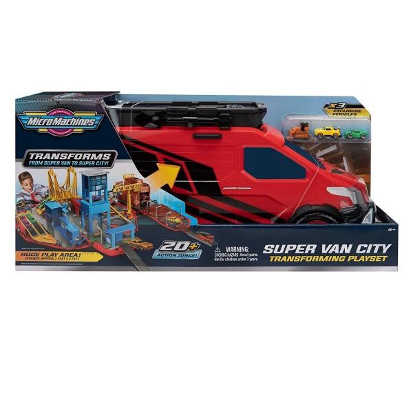 Jazwares MMW0042 - Micro Machines - Spielset mit 3 Fahrzeugen, Super Van City