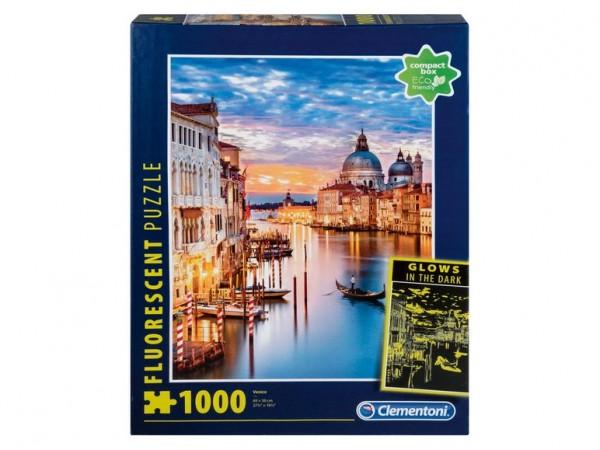 Clementoni 97772 - Fluorescent-Puzzle - Venedig, 1000 Teile, leuchtet im Dunkeln