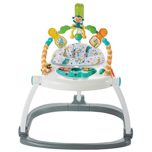 Mattel FDG98 DE - Fisher-Price - Colourful Carnival Space Saver Jumperoo, Baby-Hopser mit deutscher