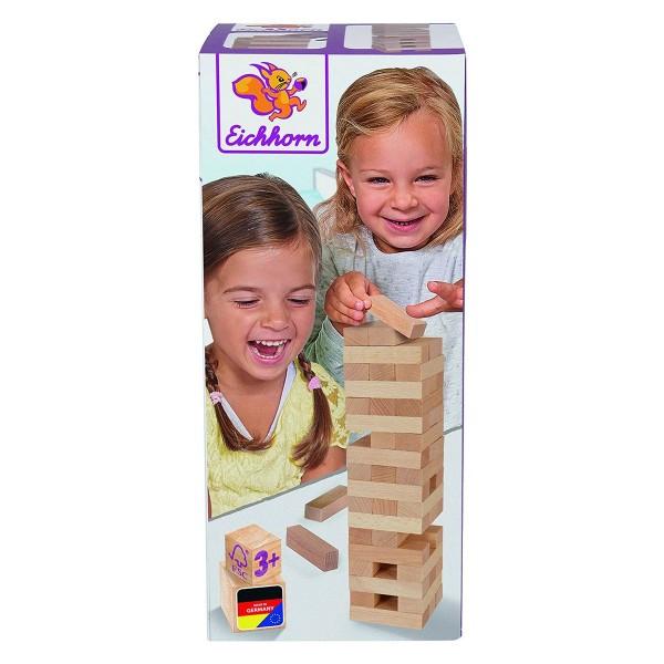 Simba 100072316 - Eichhorn - Echtholz Stapelspiel, Balance Holzturm