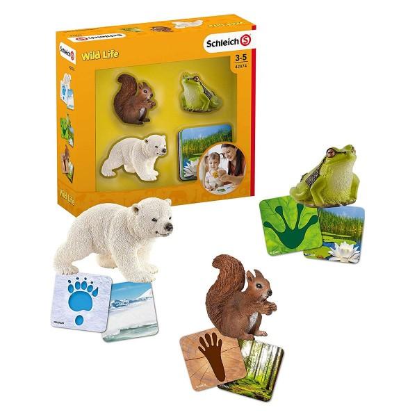 Schleich 42474 - Wild Life - Spielset, Lernkarten mit Figuren