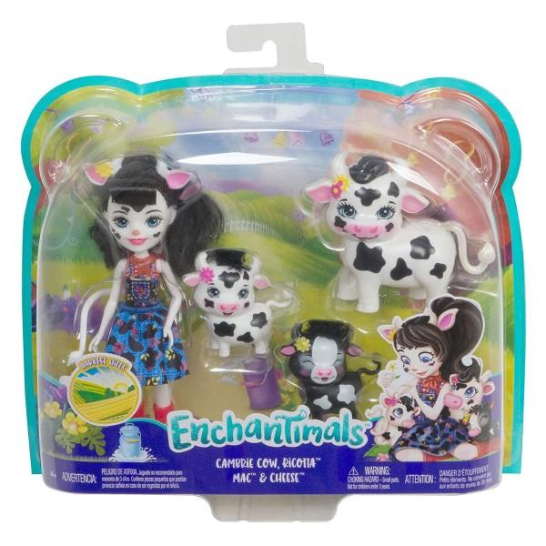 Mattel GJX44 - Enchantimals - Spielset, Puppe Cambrie Cow, mit Kuh Ricotta und 2 Kälbern