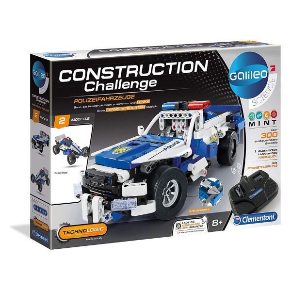 Clementoni 59144 - Galileo Science - Construction Challenge - Ferngesteuerter Polizeiwagen, RC Poliz