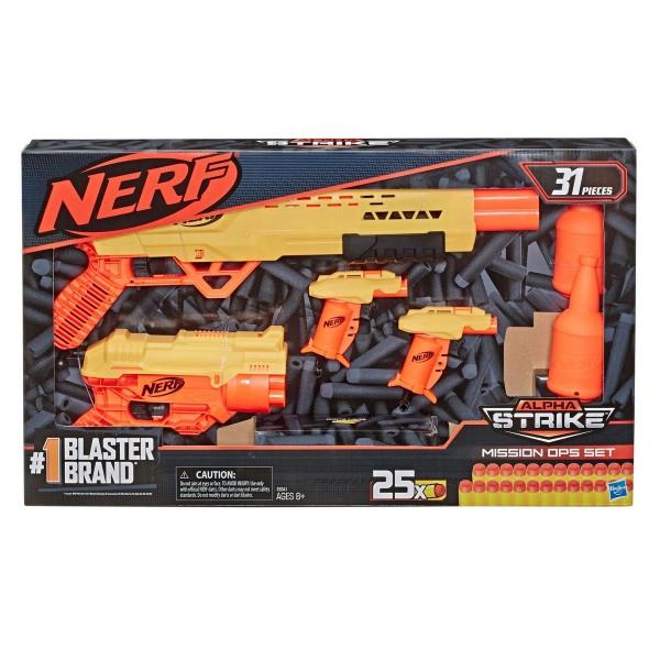 Hasbro E8341 - Nerf - Alpha Strike - Spielset, Blaster mit Munition, 31 Teile, Mission OPS Set