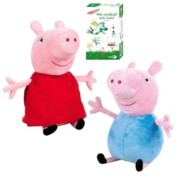 SPAR-SET 181018 - Peppa Pig - Peppa Wutz - Plüschtier-Set, Peppa und George + Tabaluga Spiel