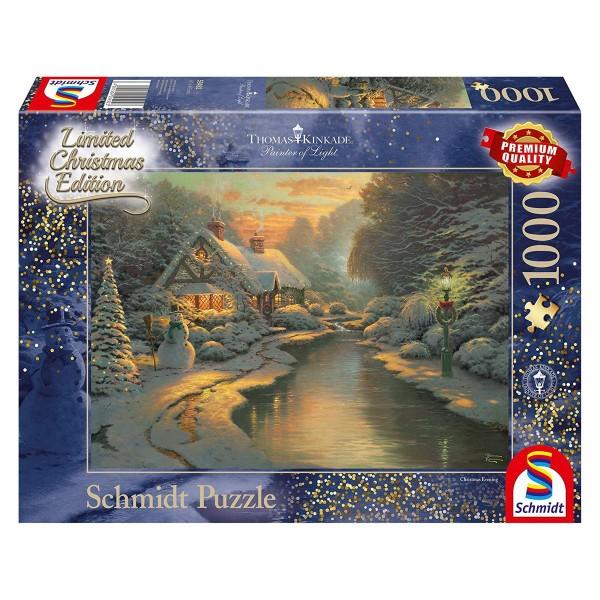 Schmidt 59492 - Premium Quality - Thomas Kinkade - Am Weihnachtsabend, 1000 Teile Puzzle