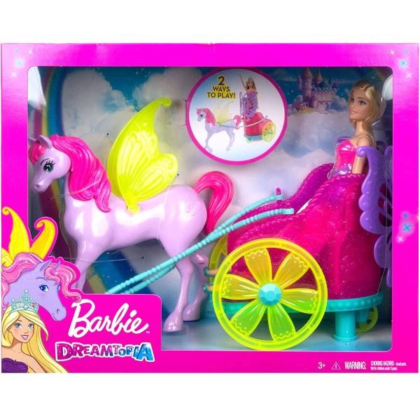 Mattel GJK53 - Barbie - Dreamtopia - Prinzessin Puppe mit Fantasie Pferd und Kutsche