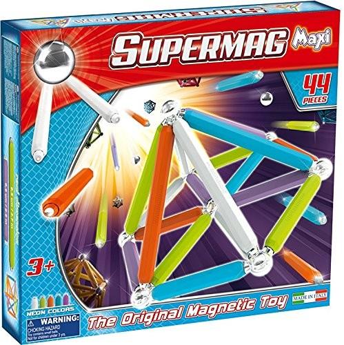 Beluga 0115 - Supermag - Magnetspielzeug, 44 Teile, Maxi Neon